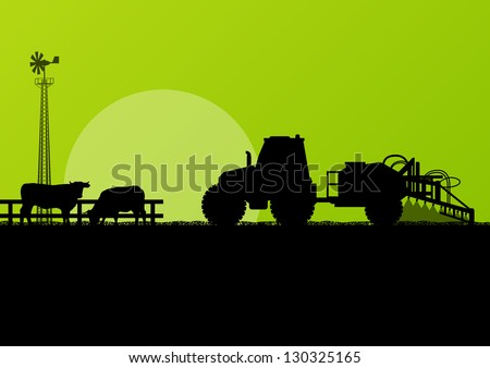 Agriculture tractor and beef cattle in cultivated country fields landscape background illustration vector - stock vector