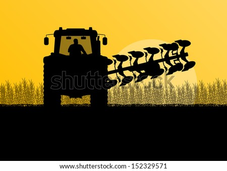 Agriculture tractor plowing the land in cultivated country corn field landscape background illustration vector - stock vector