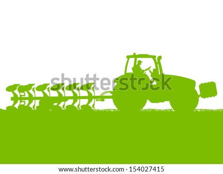 Agriculture tractor plowing the land in cultivated country grain field landscape background illustration vector ecology concept - stock vector
