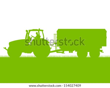 Agriculture tractor with corn trailer in cultivated country grain field landscape background illustration vector ecology concept - stock vector