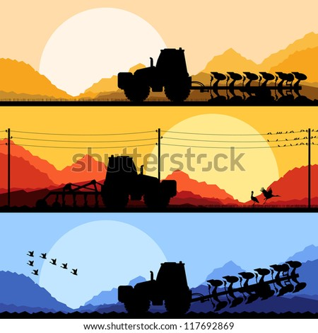 Agriculture tractors plowing the land in cultivated country fields landscape background illustration vector - stock vector