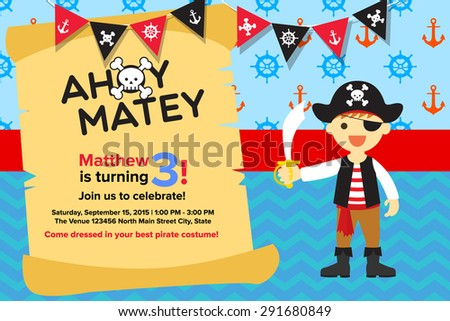 Ahoy Matey Pirate Birthday Invitation Card Vector 291680870 – Birthday Invitation Card Template