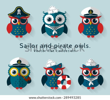 Ahoy! Set of sailor, captain and pirate owls for sea and nautical design. Funny icons isolated on blue background. Vector flat collection. - stock vector