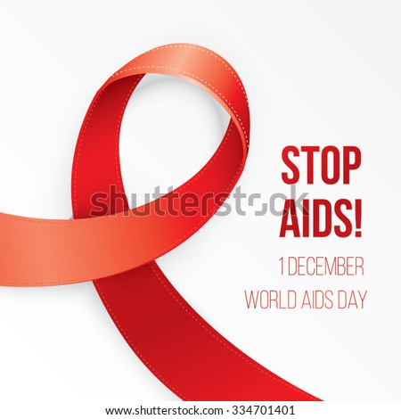 Aids Awareness Red heart Ribbon on white background. Corner composition for postcard poster or  web banner - stock vector