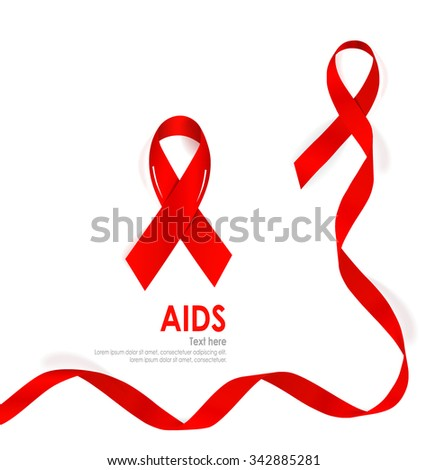 Aids Awareness Red heart Ribbon on white background. Vector illustration. - stock vector