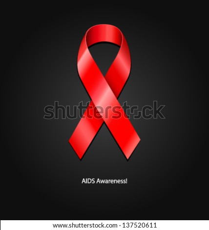 AIDS awareness ribbon vector illustration - stock vector