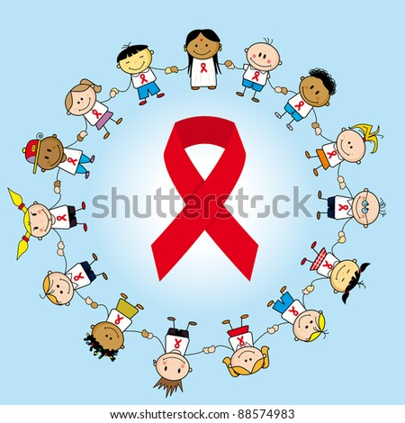 Aids day. Group of children around an aids ribbon. - stock vector