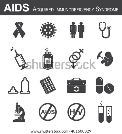 AIDS icon( red ribbon,HIV virus,man,woman,stethoscope,syringe,needle,blood bag, male , female , fetal ,condom, birth control or contraception pills ,medical bag, antiviral drug,microscope, test tube ) - stock vector