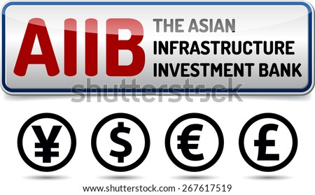 AIIB - The Asian Infrastructure Investment Bank - Illustration board with reflection and shadow on white background - stock vector
