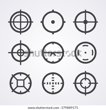 AIM crosshair set icons for computer PC games shooters, arcades, mouse cursors pointers, cross lines in circles, original aim pictographs images, shooter icons set, nine AIM vector icons for shooter