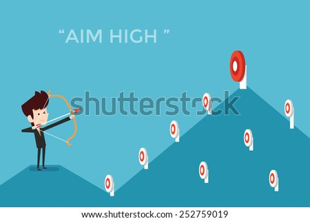 Aim high concept, flat designs cartoon - stock vector