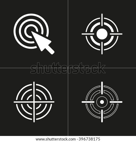 Aim   vector icon. White illustration isolated on black background for graphic and web design. - stock vector