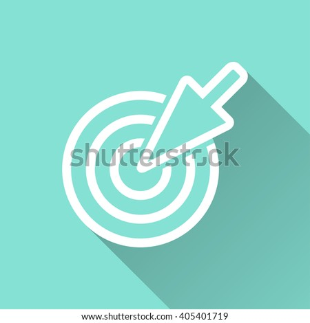Aim   vector icon with long shadow. White illustration isolated on green background for graphic and web design.   - stock vector