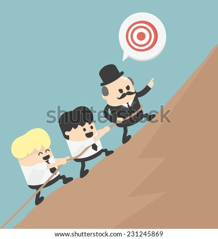 Aimed at the top of the mountain - stock vector