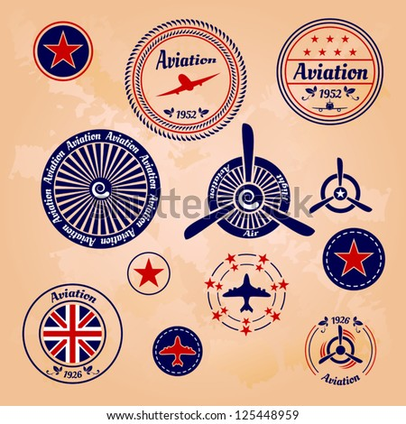 air badges and labels - stock vector