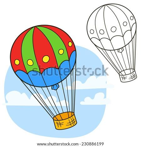 Air balloon. Coloring book page. Cartoon vector illustration. - stock vector