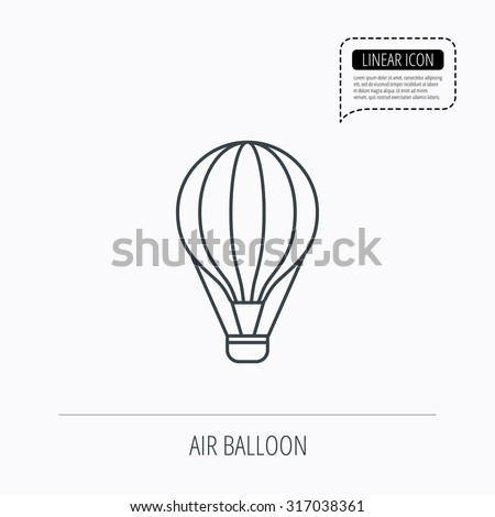 Air balloon icon. Fly transport sign. Airship travel symbol. Linear outline icon. Speech bubble of dotted line. Vector - stock vector