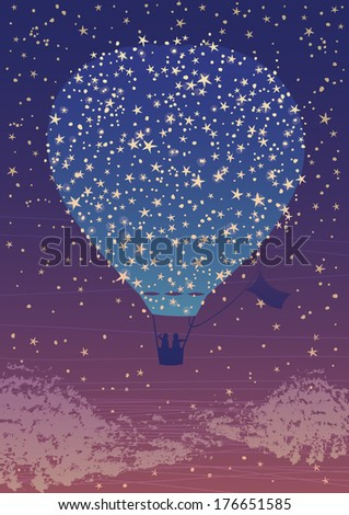 Air Balloon in the Night Sky - stock vector