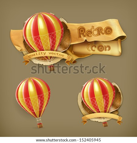 Air balloon, vector icon - stock vector
