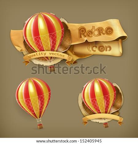 Air balloon, vector icon - stock vector