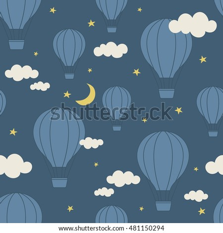 Best Wallpaper Night Hot Air Balloon - stock-vector-air-balloons-clouds-stars-and-moon-hand-drawn-seamless-pattern-doodle-wallpaper-vector-colorful-481150294  Picture-841479.jpg