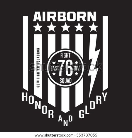 Air born fighter typography, t-shirt graphics, vectors - stock vector