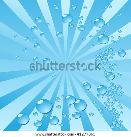 Air bubbles in water on stripy background. Vector - stock vector