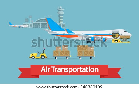 Air cargo transportation concept. Flat style illustration. Logistic concept.  It can be used as -pictogram, icon, infographic element. Vector Illustration. - stock vector