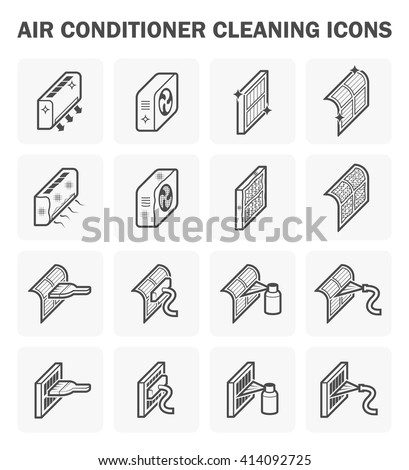Air conditioner cleaning icon sets. - stock vector