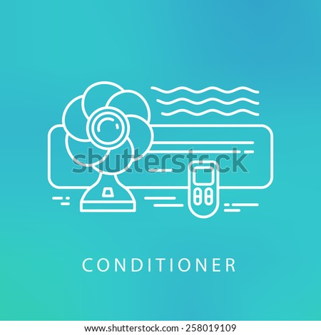 air conditioner cool fun climate element icons - stock vector