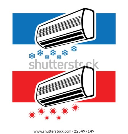 Air conditioner cooling and heating - stock vector