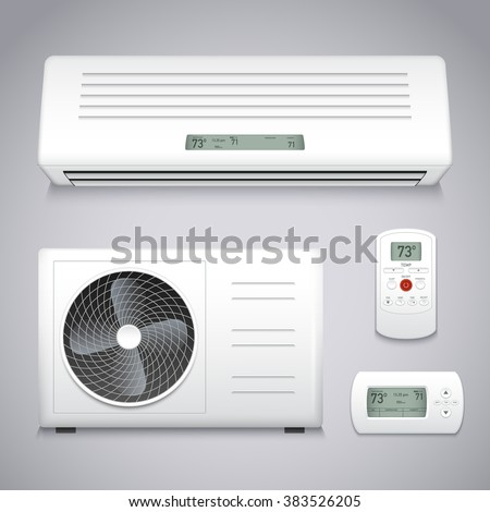 Air conditioner realistic set with cooling and ventilation equipment isolated vector illustration - stock vector