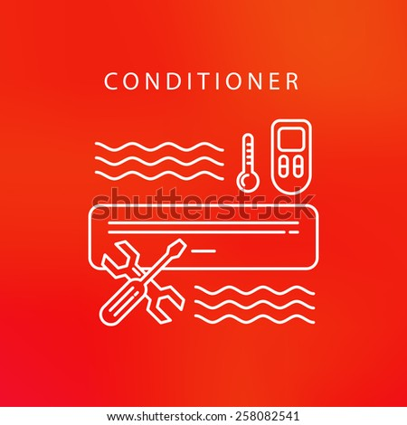 air conditioner service cool fun climate element icons - stock vector