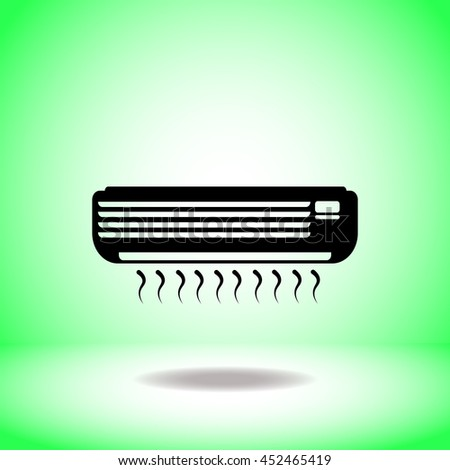 Air conditioner vector. Flat icon on green background. Simple illustration.