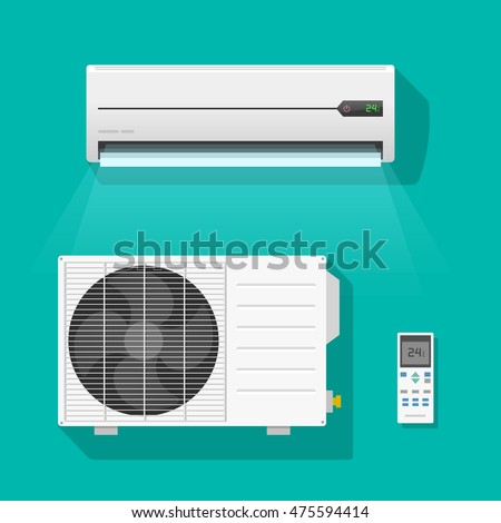 air conditioner vector set isolated on stock vector. Black Bedroom Furniture Sets. Home Design Ideas