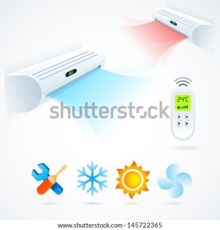 air conditioners cool fun climate element icons set white blue - stock vector
