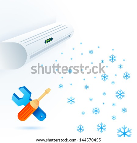 air conditioners fun service element white blue - stock vector