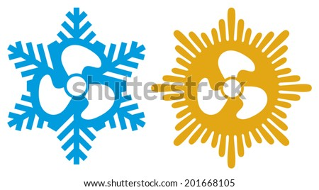 air conditioning icons (air conditioner symbol) - stock vector