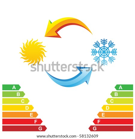 Air conditioning symbols and energy class chart isolated on a white background - stock vector