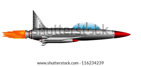 Air fighter isolated on white background - vector - stock vector