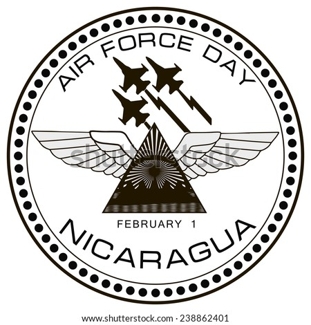 Air Force symbol of Nicaragua on February 1. Vector illustration. - stock vector