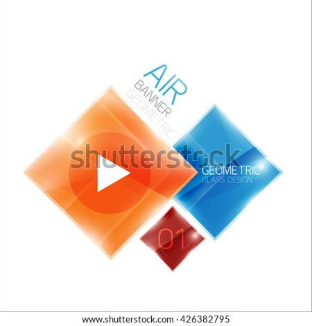 Air glossy square composition, glass geometric elements with infographic sample text and buttons - stock vector