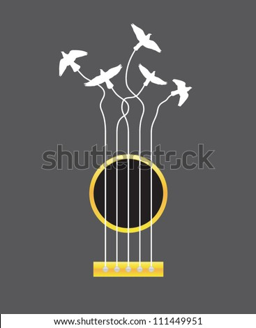 Air Guitar. Vector illustration of guitar strings being pulled by birds - stock vector