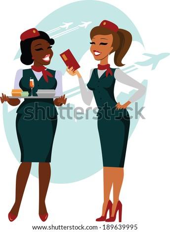 Air hostesses ready to fly - stock vector