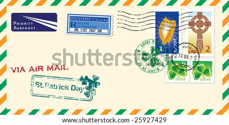 Air mail envelope for St. Patrick's day. Elements for your design. Vector illustration - stock vector