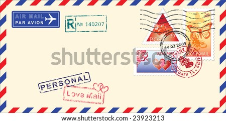 Air mail envelope for Valentine's day. Elements for your design. Vector  illustration - stock vector