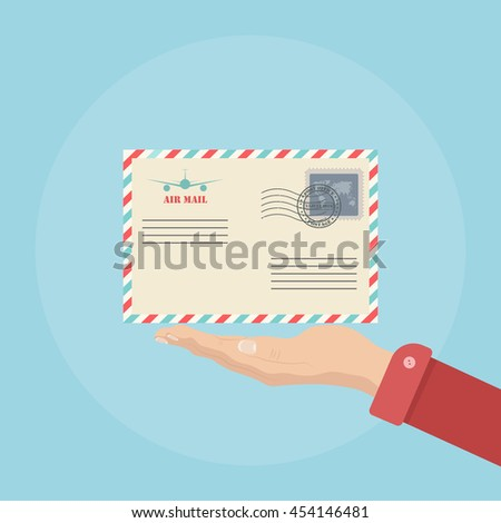 Air mail envelope with postal stamp. Air mail envelope. Air mail envelope icon symbol. Envelope icon image. Envelope icon picture. Envelope vector icon. Flat design icon - stock vector