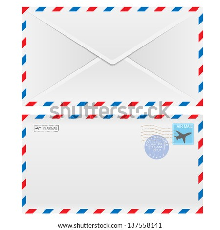 Air mail envelope with postal stamp isolated on white background. - stock vector