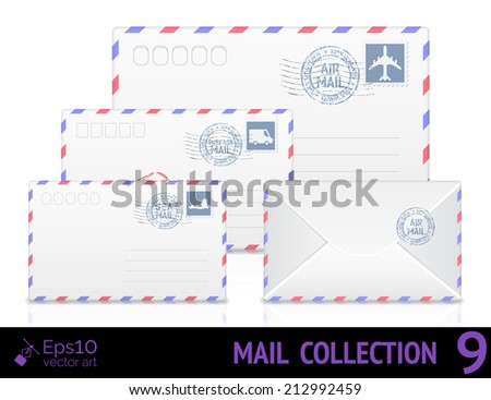 Air mail envelope with postal stamp isolated on white background. Vector illustration - stock vector