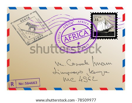Air mail envelope with stamps and letters, vector illustration